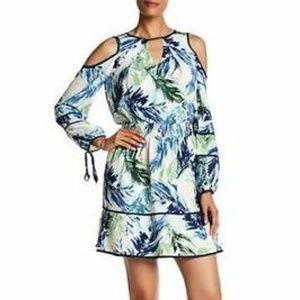 Adelyn Rae Cold Shoulder Tropical Print Dress